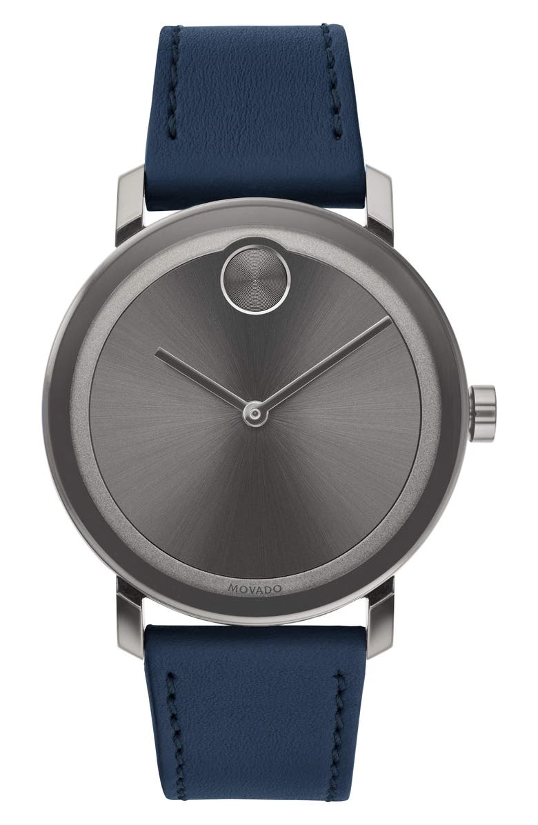 MOVADO Bold Leather Strap Watch, 40mm, Main, color, NAVY/ GREY