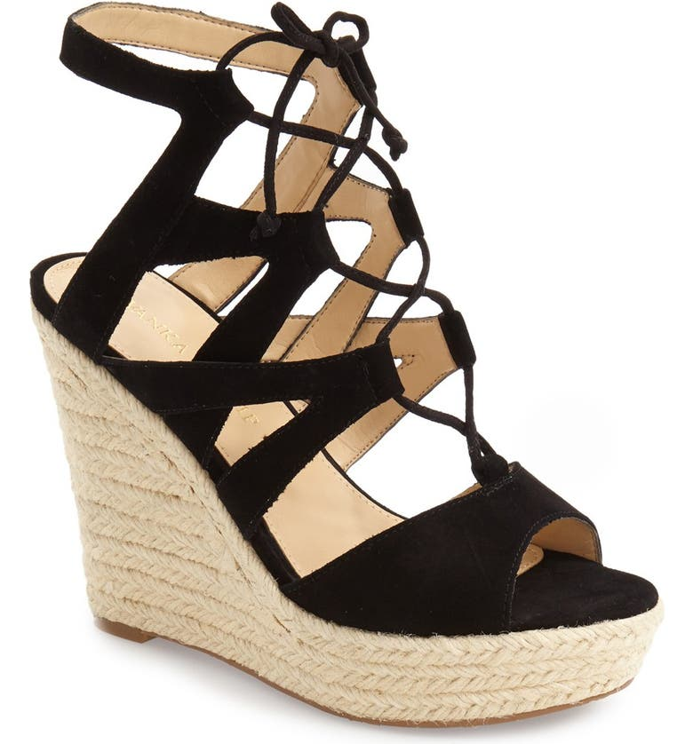 IVANKA TRUMP 'Hindre' Espadrille Wedge Sandal, Main, color, 001