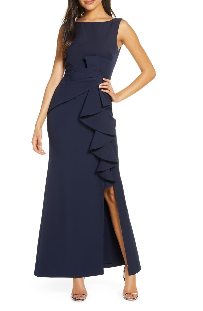 ELIZA J Ruffle Front Gown, Main, color, NAVY