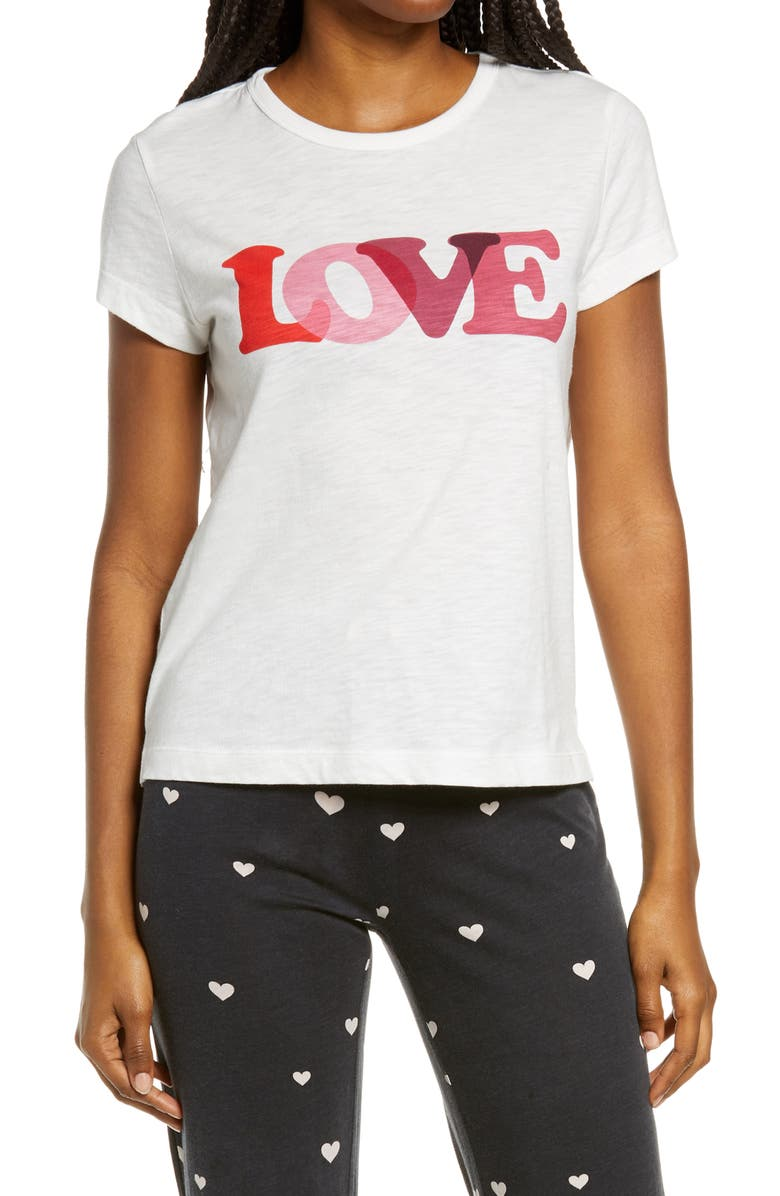 PJ SALVAGE With a Kiss Graphic Tee, Main, color, IVORY