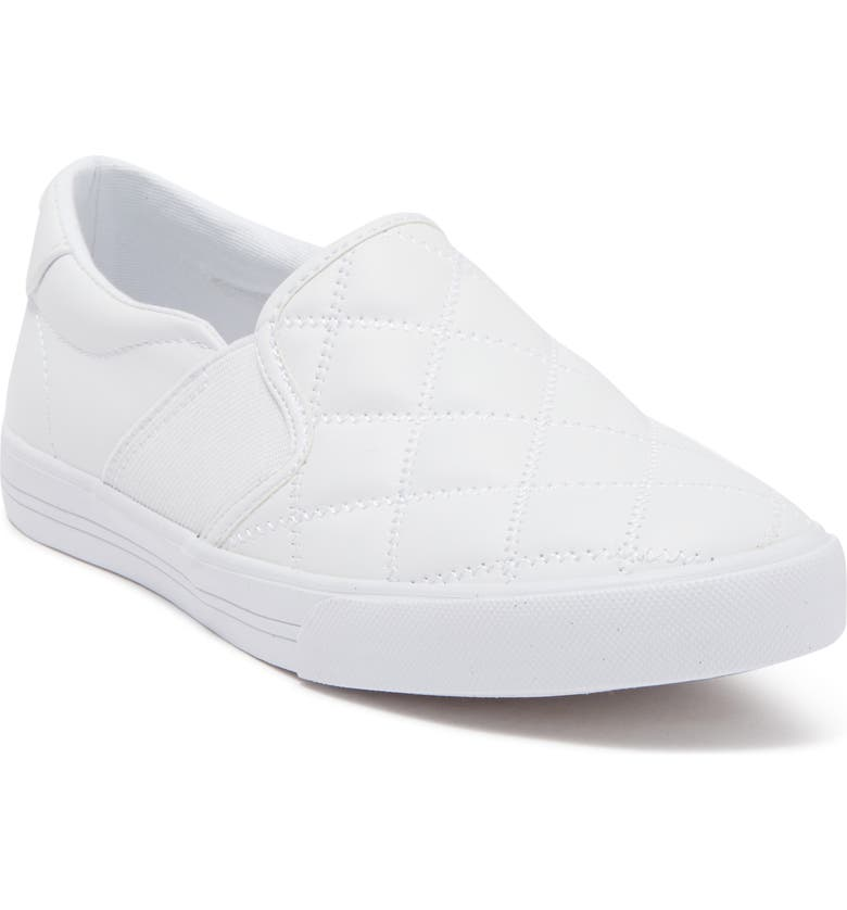 NINE WEST Lacie Quilted Slip-On Sneaker, Main, color, WHITE NAPPA PU
