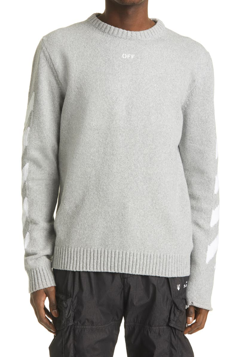 OFF-WHITE Men's Arrow Intarsia Cotton Blend Sweater, Main, color, 020