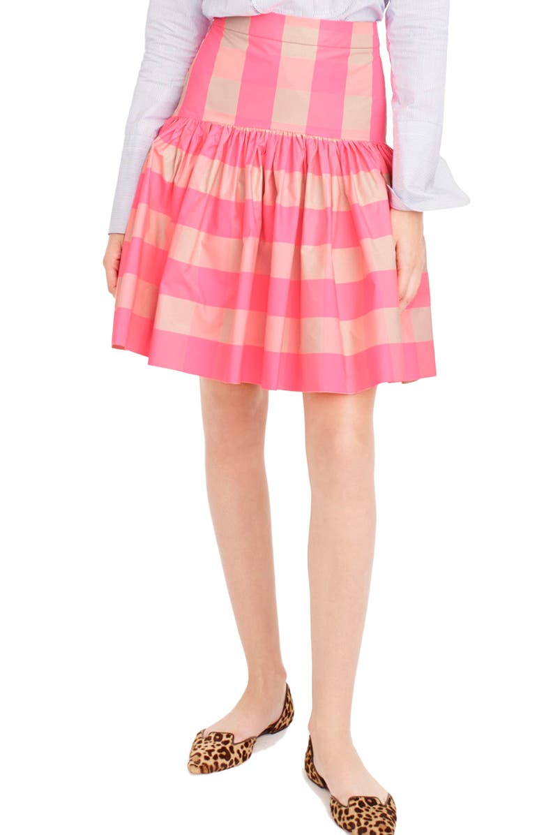 J.CREW Neon Buffalo Check Taffeta Skirt, Main, color, 651