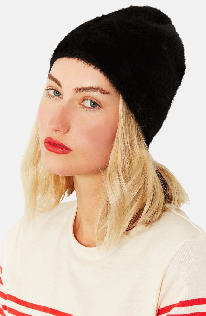 TOPSHOP Angora Beanie, Main, color, 001