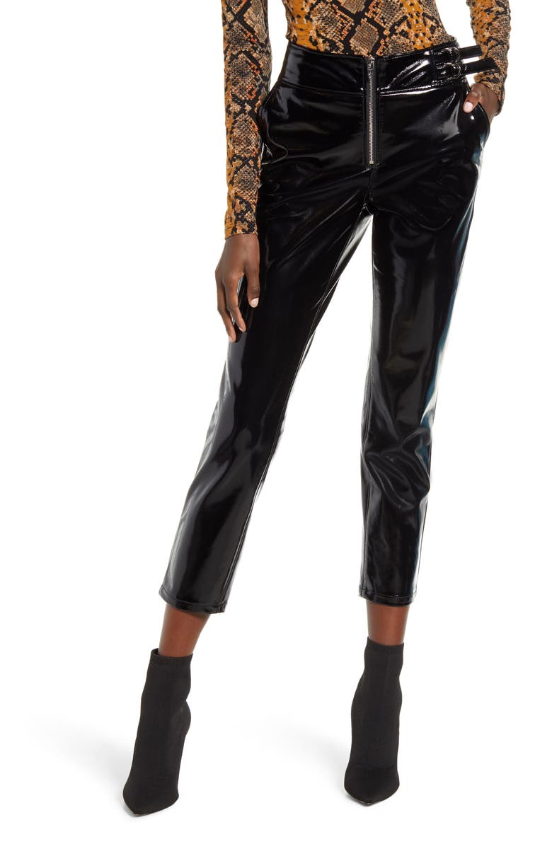 BLANKNYC Patent Faux Leather Pants, Main, color, 001