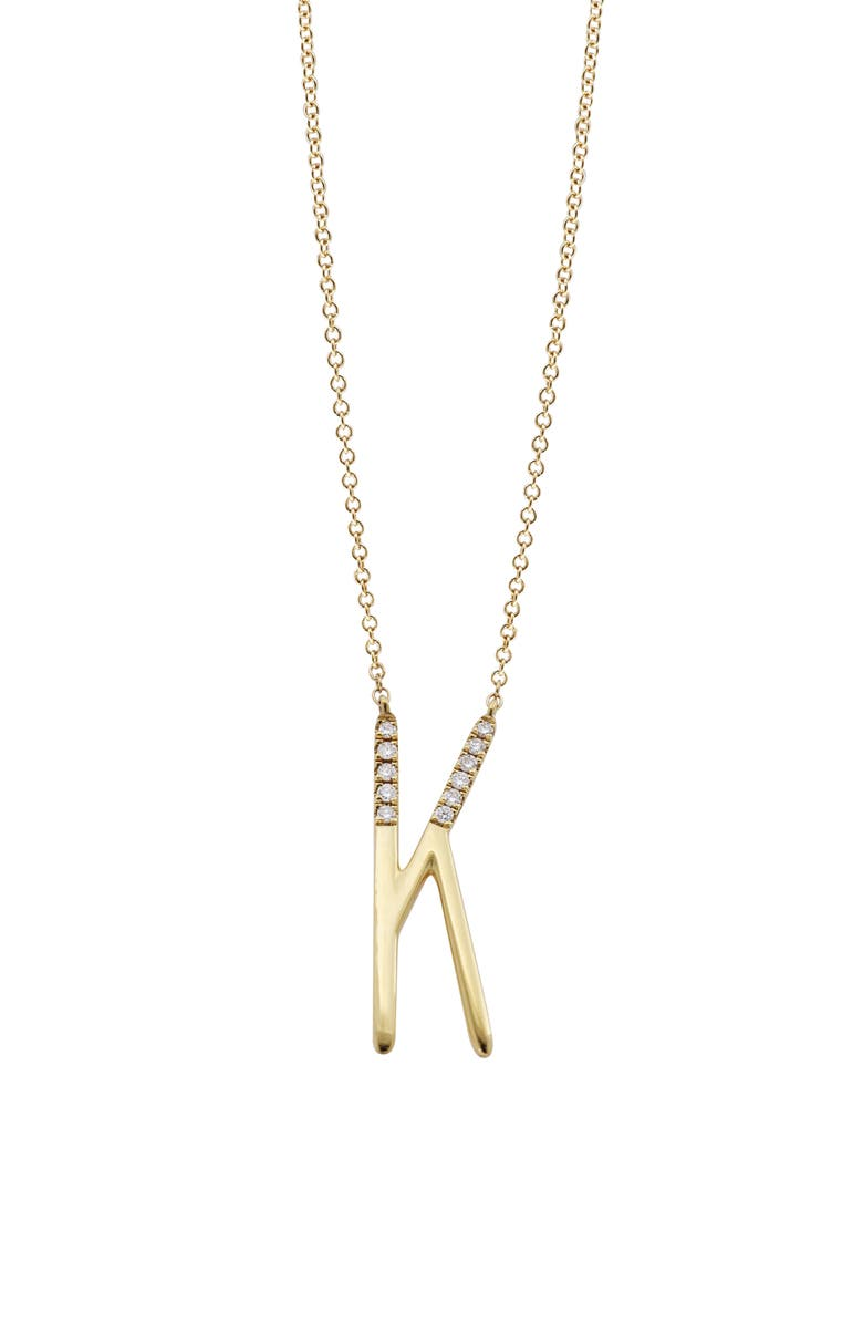 BONY LEVY Diamond Initial Pendant Necklace, Main, color, YELLOW GOLD-K