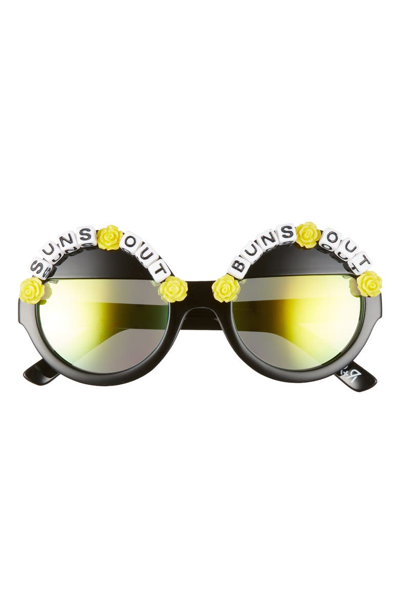 RAD + REFINED Suns Out Buns Out Round Sunglasses, Main, color, YELLOW/ GREEN MIRRORED