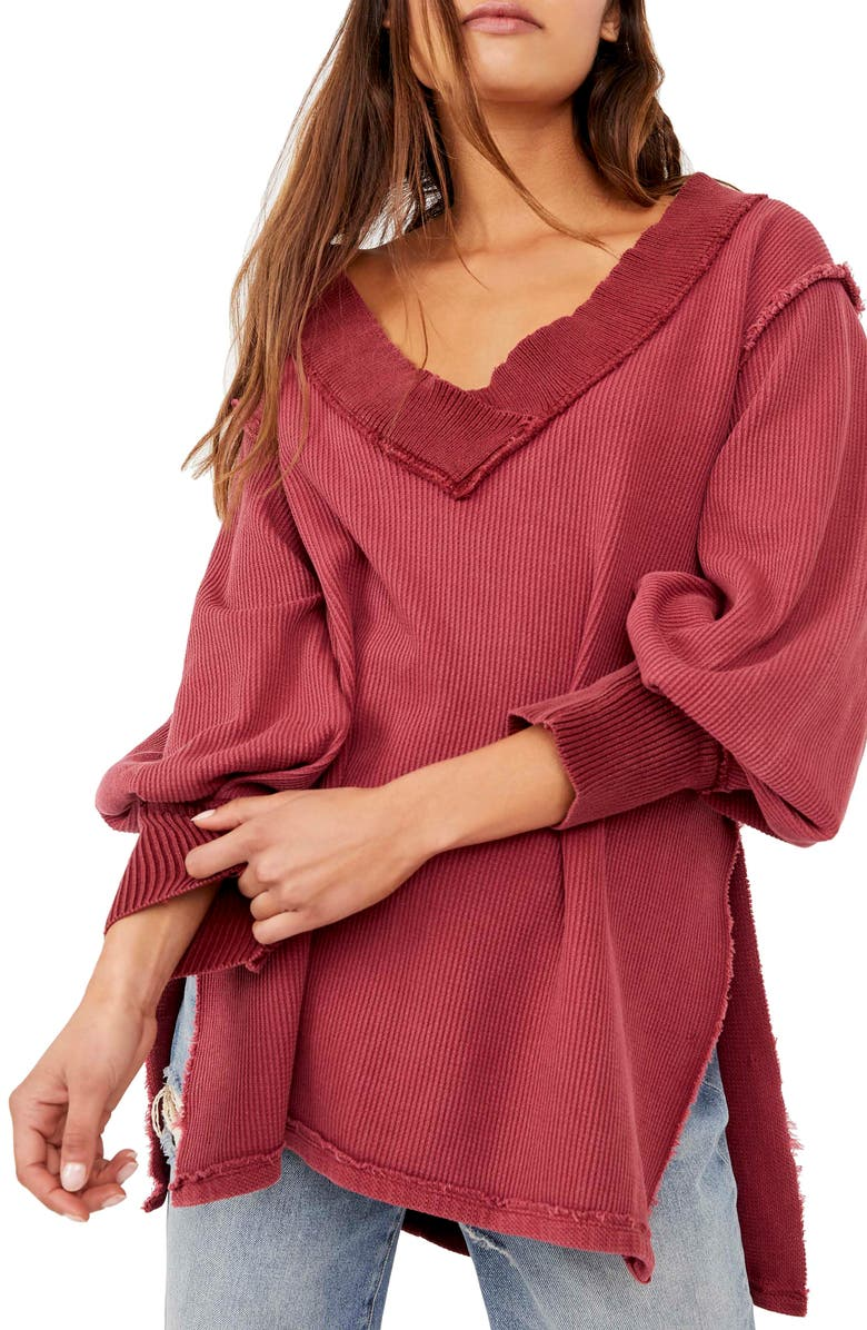 FREE PEOPLE Asher Thermal Knit V-Neck Top, Main, color, STOLEN KISS