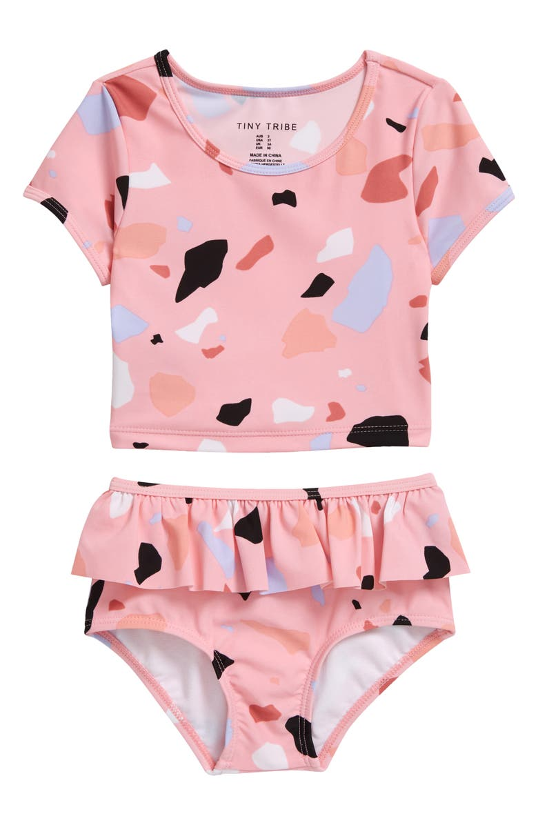 TINY TRIBE Kids' Terrazzo Short Sleeve Two-Piece Swimsuit, Main, color, PINK