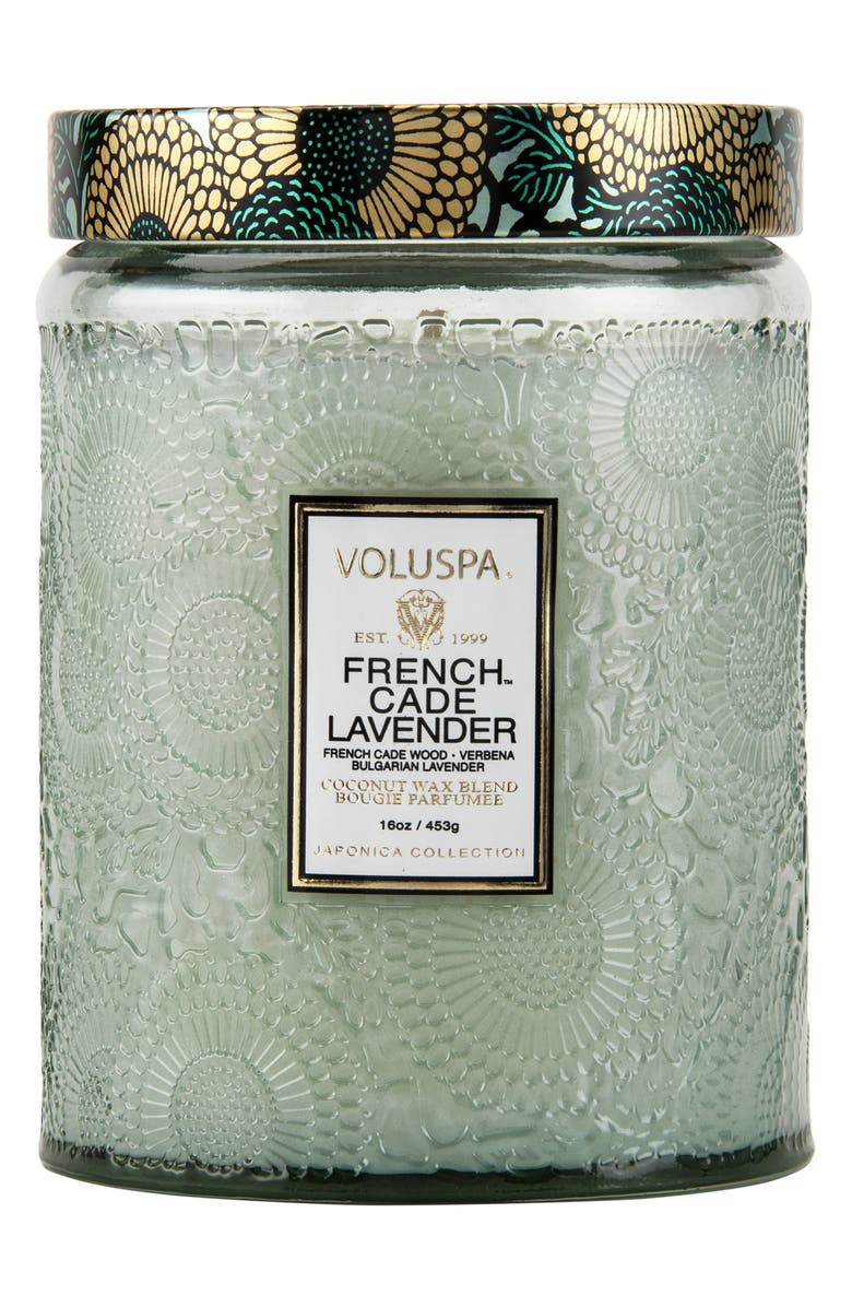 VOLUSPA Japonica French Cade Lavender Large Embossed Glass Jar Candle, Main, color, 000