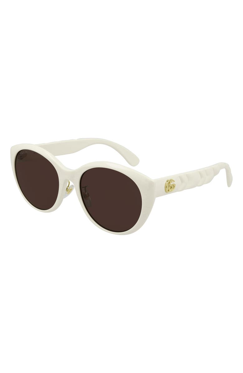 GUCCI 56mm Cat Eye Sunglasses, Main, color, IVORY/ BROWN