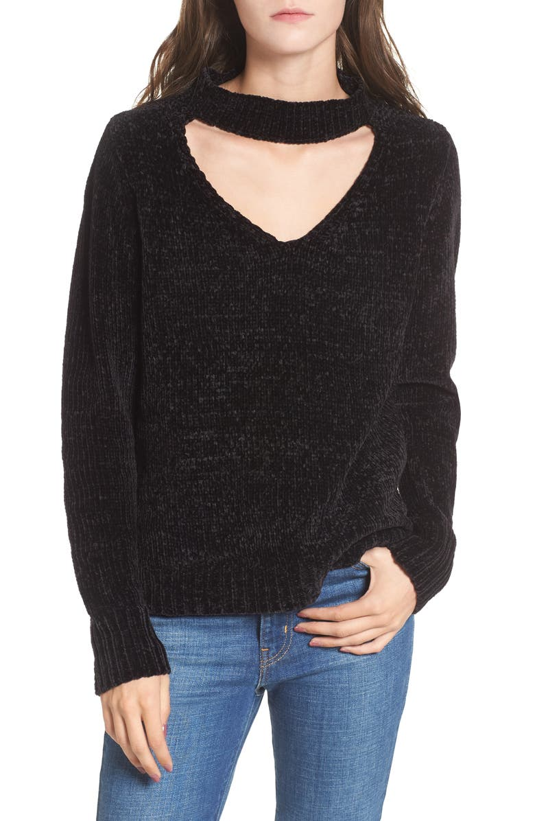 LOVE BY DESIGN Chenille Choker Neck Sweater, Main, color, 001