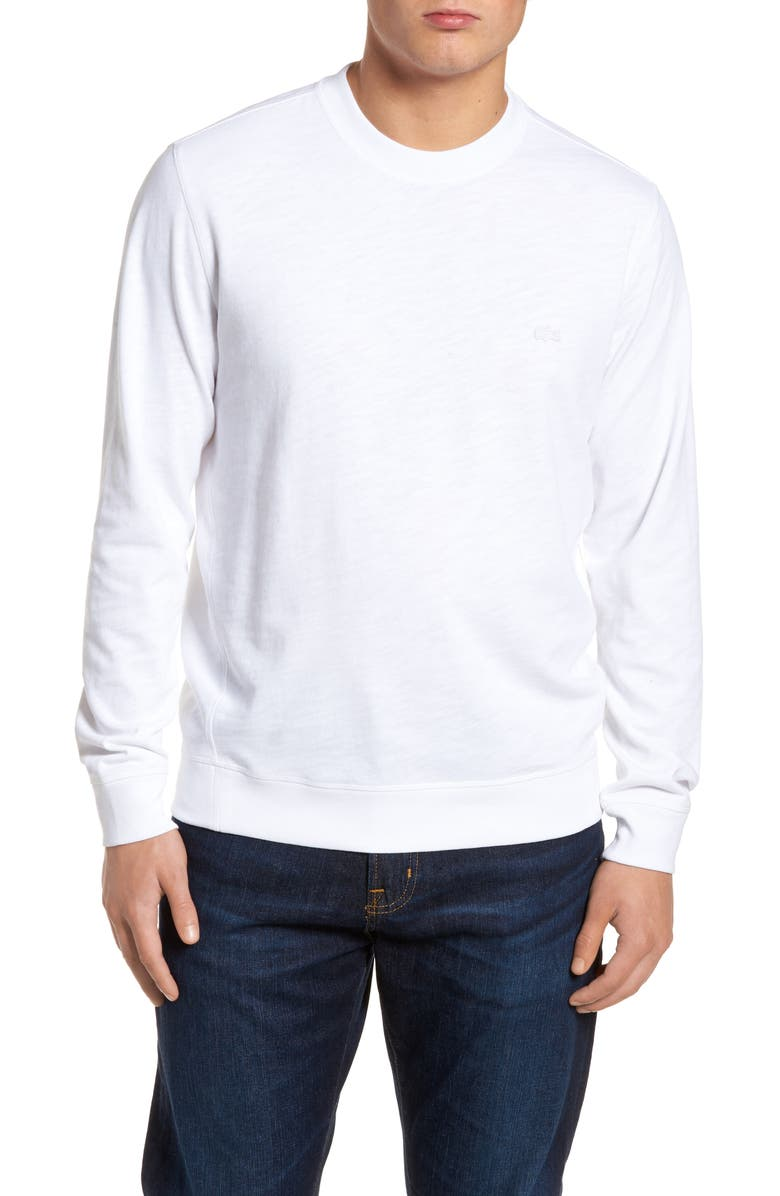 LACOSTE Slim Fit French Terry Sweatshirt, Main, color, 100