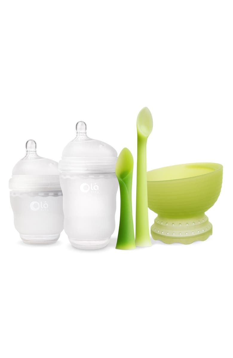 OLABABY 5-Piece Baby Feeding Starter Set, Main, color, FROST/ FROST/ GREEN