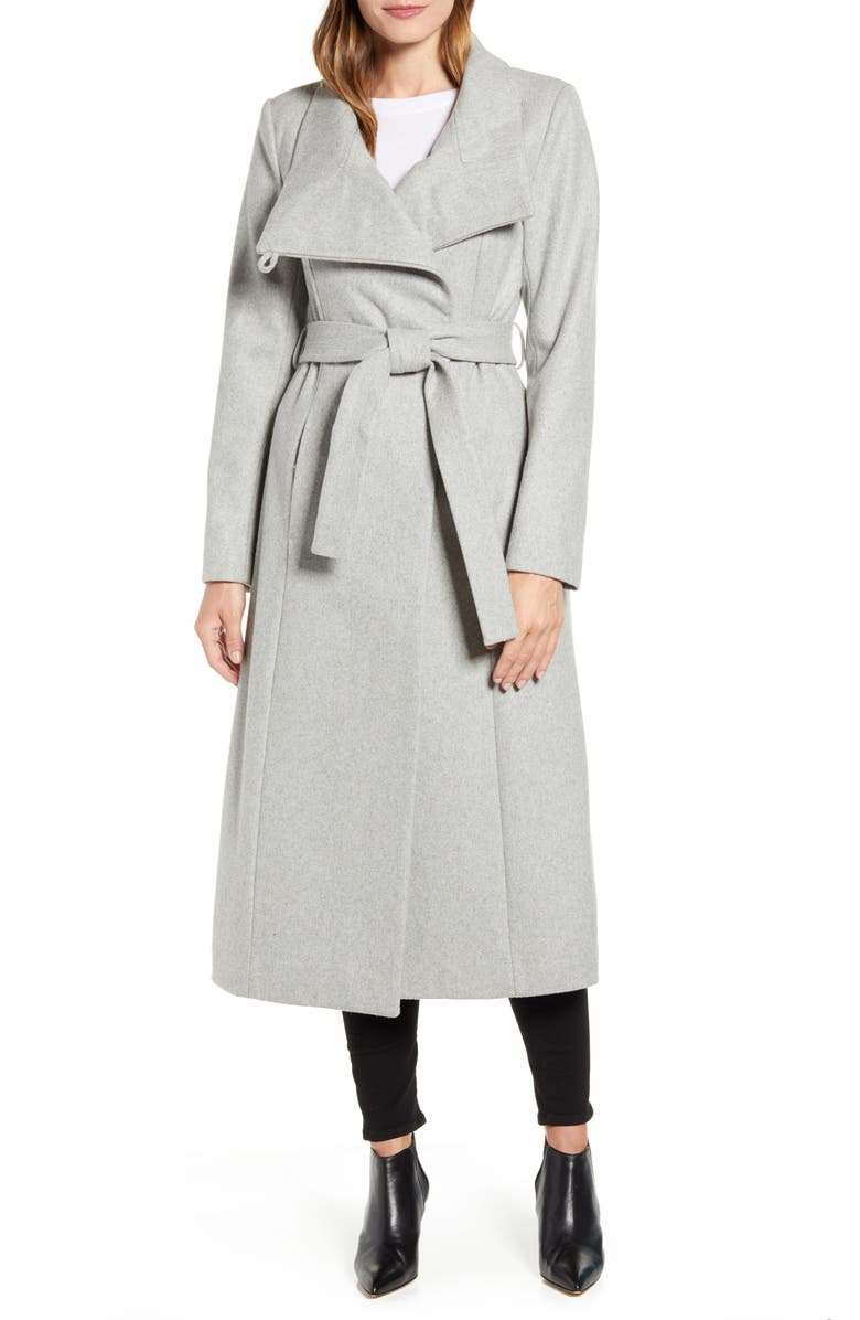KENNETH COLE NEW YORK Belted Wool Blend Maxi Coat, Main, color, 025