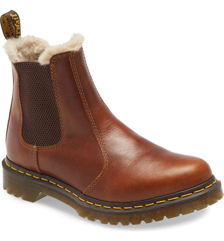 DR. MARTENS Leonore Faux Fur Lined Chelsea Boot, Main, color, 243