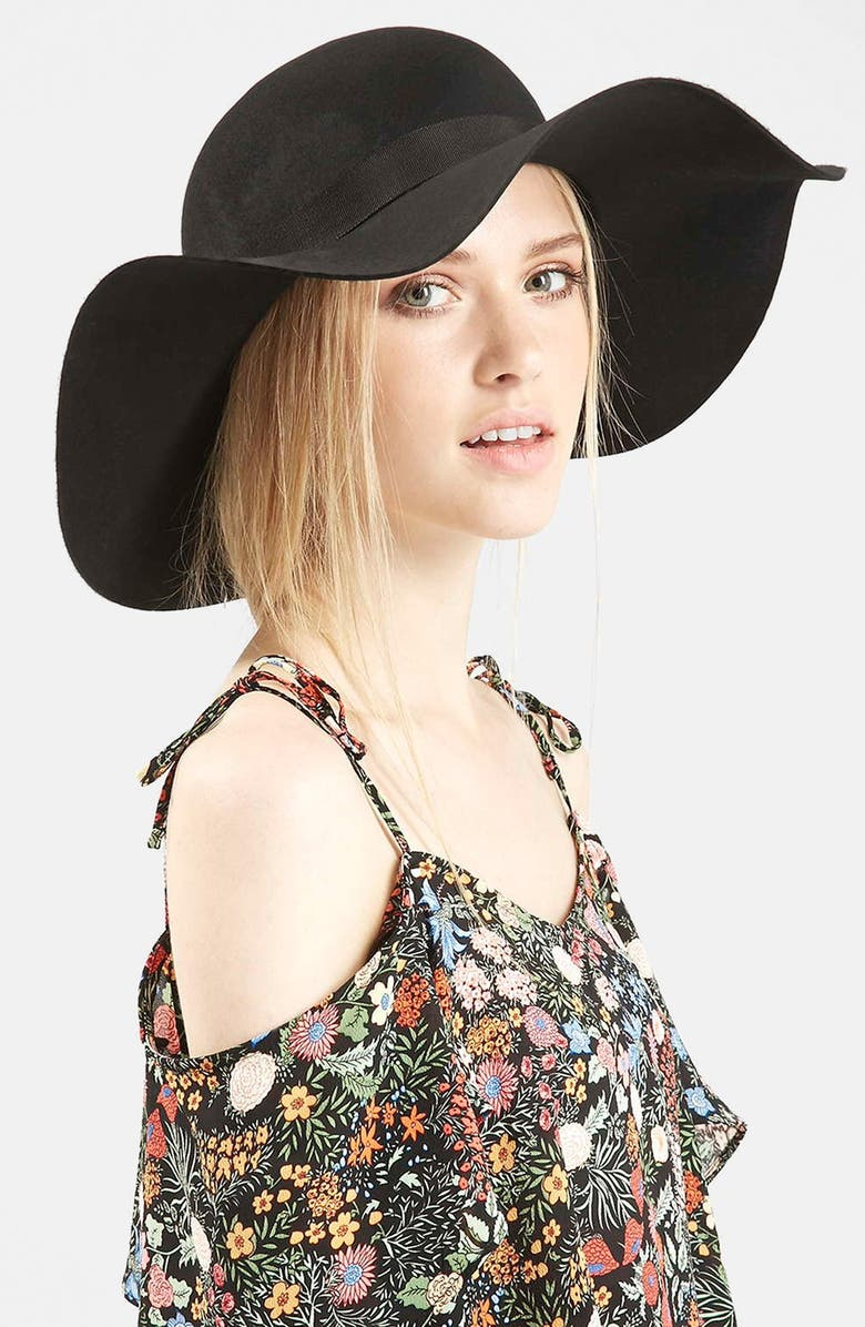 TOPSHOP Floppy Wool Felt Hat, Main, color, 001