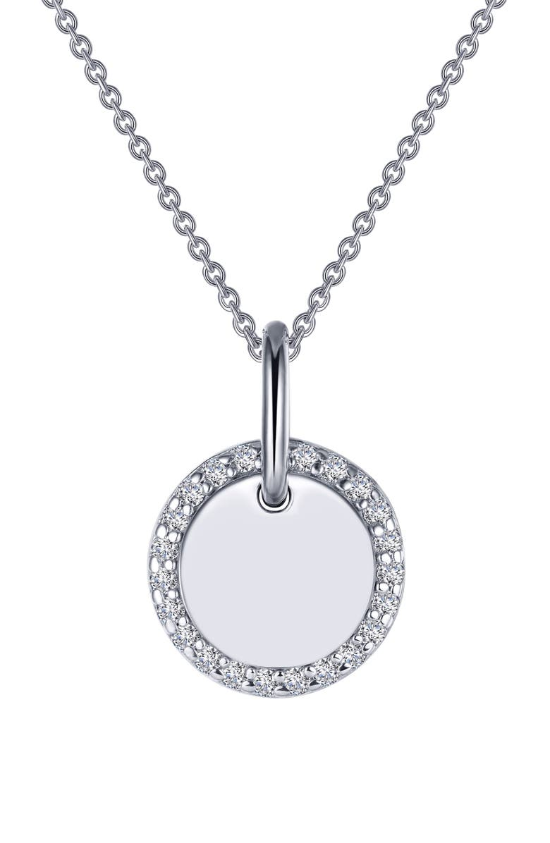 LAFONN Classic Simulated Diamond Round Disc Pendant Necklace, Main, color, CLEAR/ SILVER