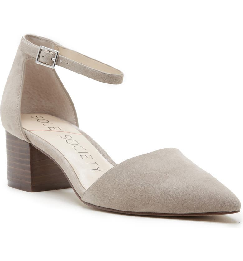 SOLE SOCIETY Katarina Ankle Strap Pump, Main, color, TAUPE LEATHER