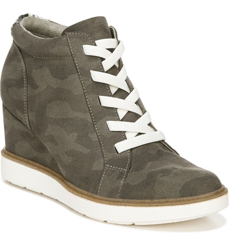 DR. SCHOLL'S Jones Hidden Wedge Sneaker, Main, color, OLIVE FABRIC