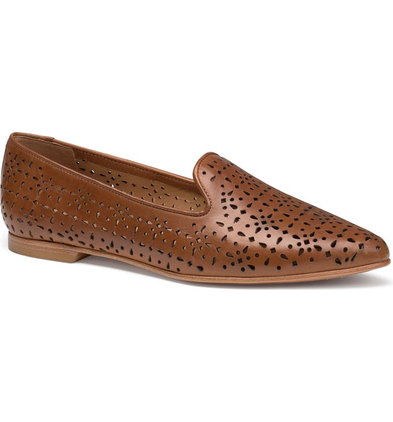TRASK Farrah Perforated Loafer, Main, color, COGNAC PERFORATED LEATHER