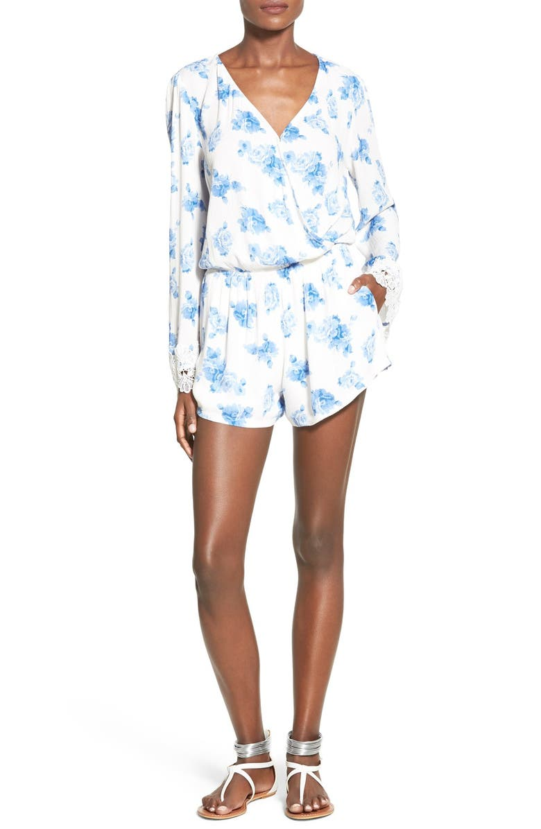 MIMI CHICA Floral Print Bell Sleeve Romper, Main, color, 100