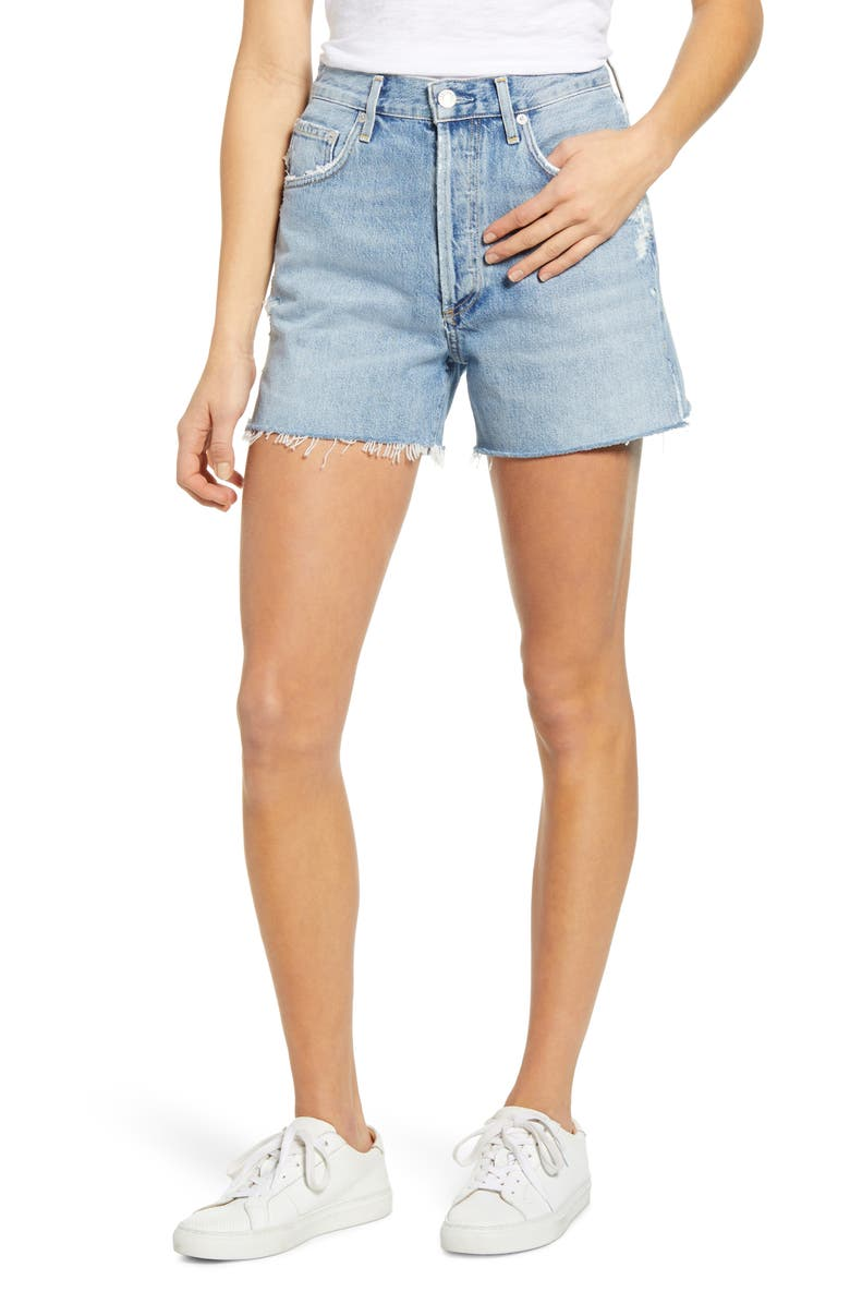 AGOLDE Dee Ultra High Waist Cutoff Denim Shorts, Main, color, CHIMES