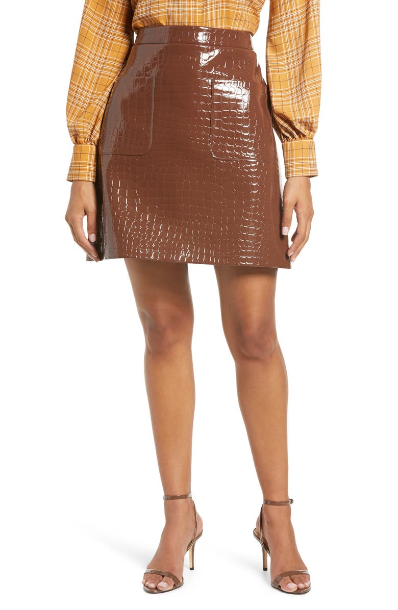 HALOGEN<SUP>®</SUP> x Atlantic-Pacific Croc Embossed Faux Leather Miniskirt, Main, color, BROWN SOIL