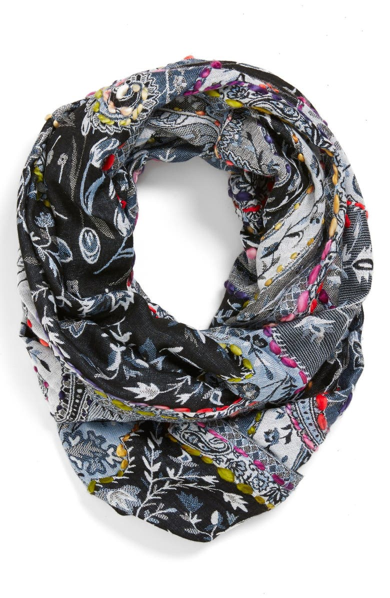 RAJ IMPORTS Embroidered Infinity Scarf, Main, color, Blue