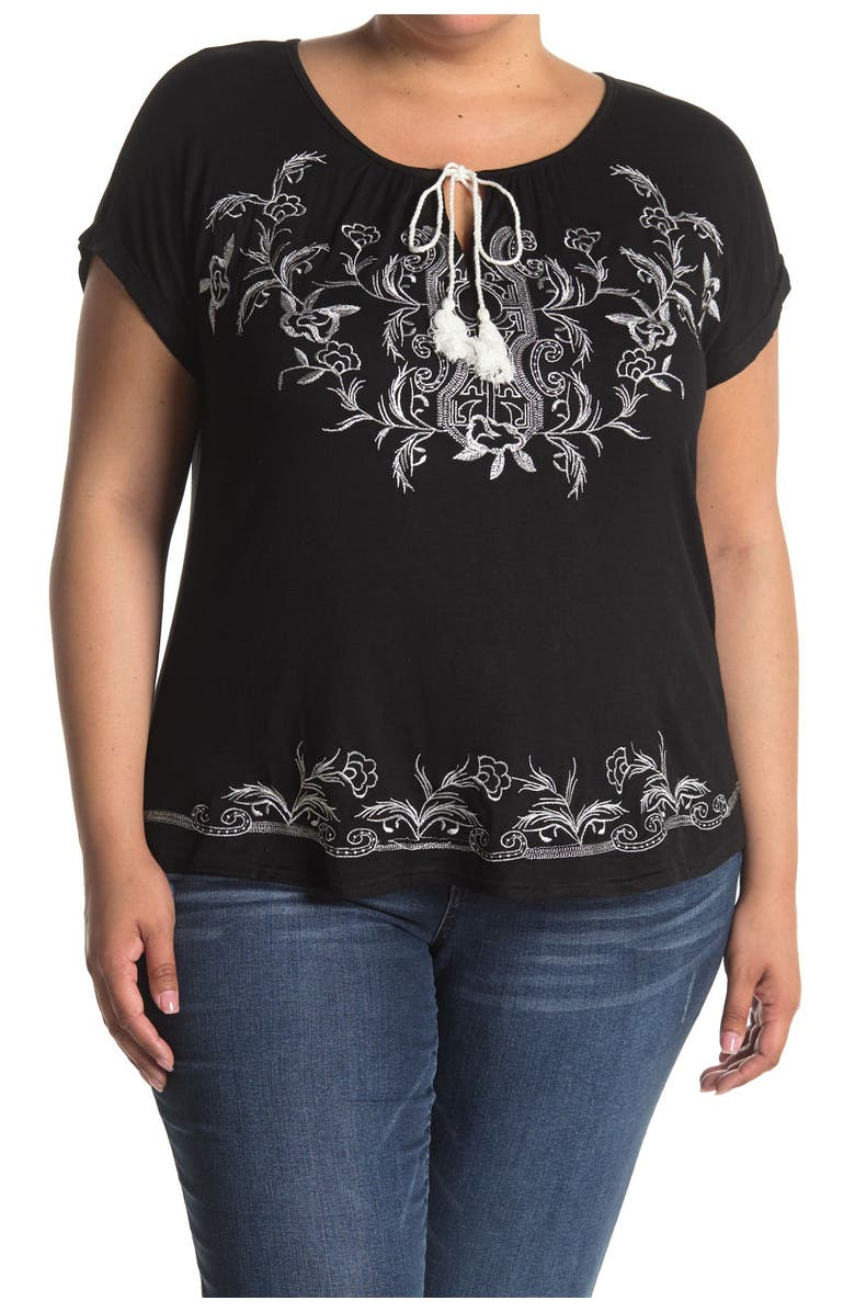 FORGOTTEN GRACE Embroidered Blouse, Main, color, BLACK