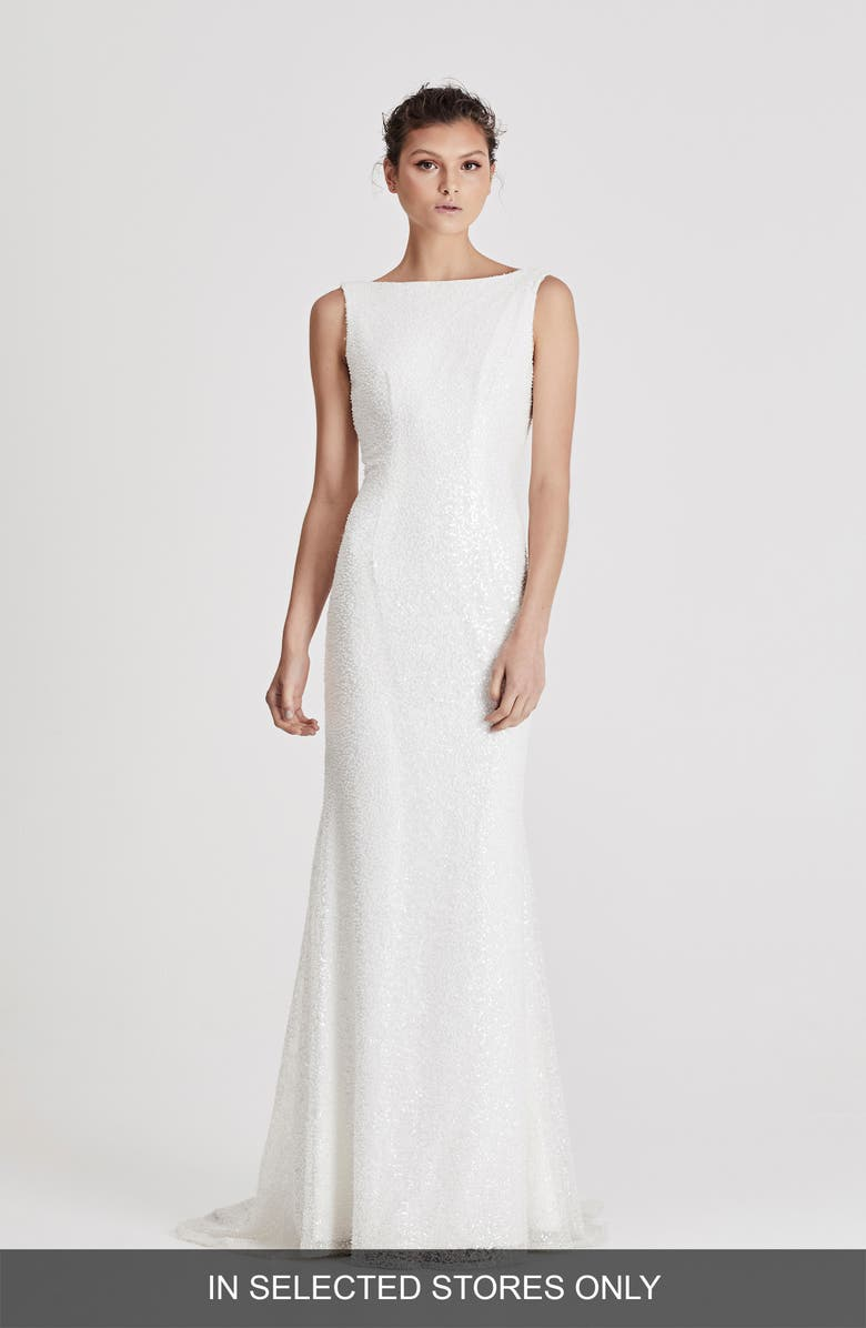 CHOSEN BY ONE DAY Leon Embellished Trumpet Wedding Gown, Main, color, 900