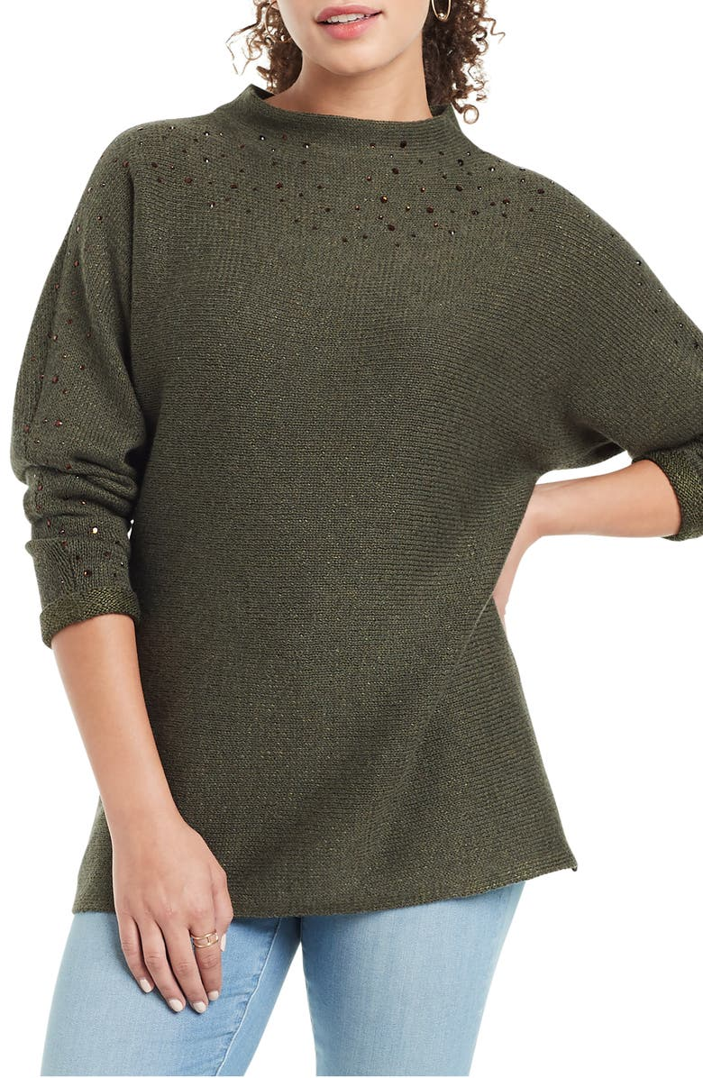 NIC+ZOE Shine For Me Sweater, Main, color, RICH OLIVE