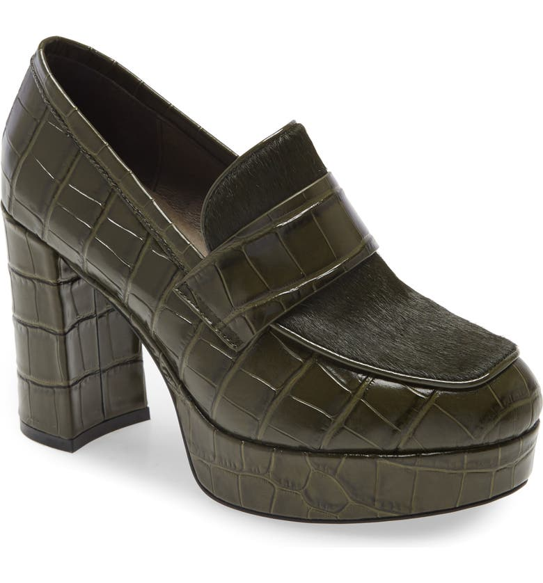JEFFREY CAMPBELL Scholar Platform Loafer, Main, color, KHAKI CROCODILE