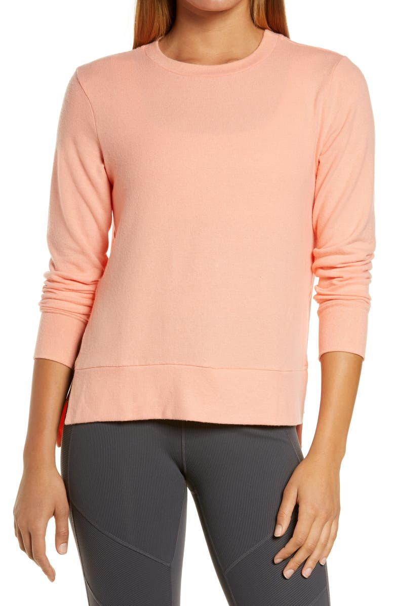 BEYOND YOGA Just Chillin' Pullover, Main, color, SUNSET PEACH
