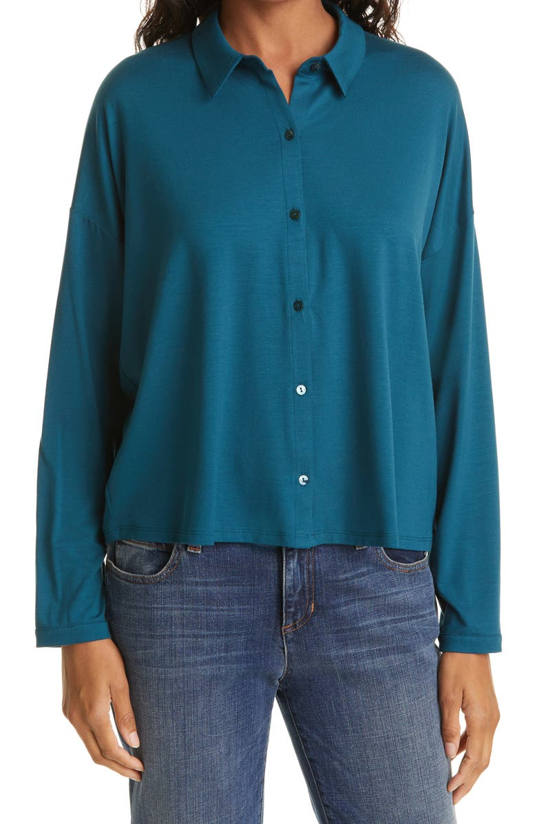 EILEEN FISHER Classic Collar Stretch Jersey Boxy Shirt, Main, color, BLUE SPRUCE