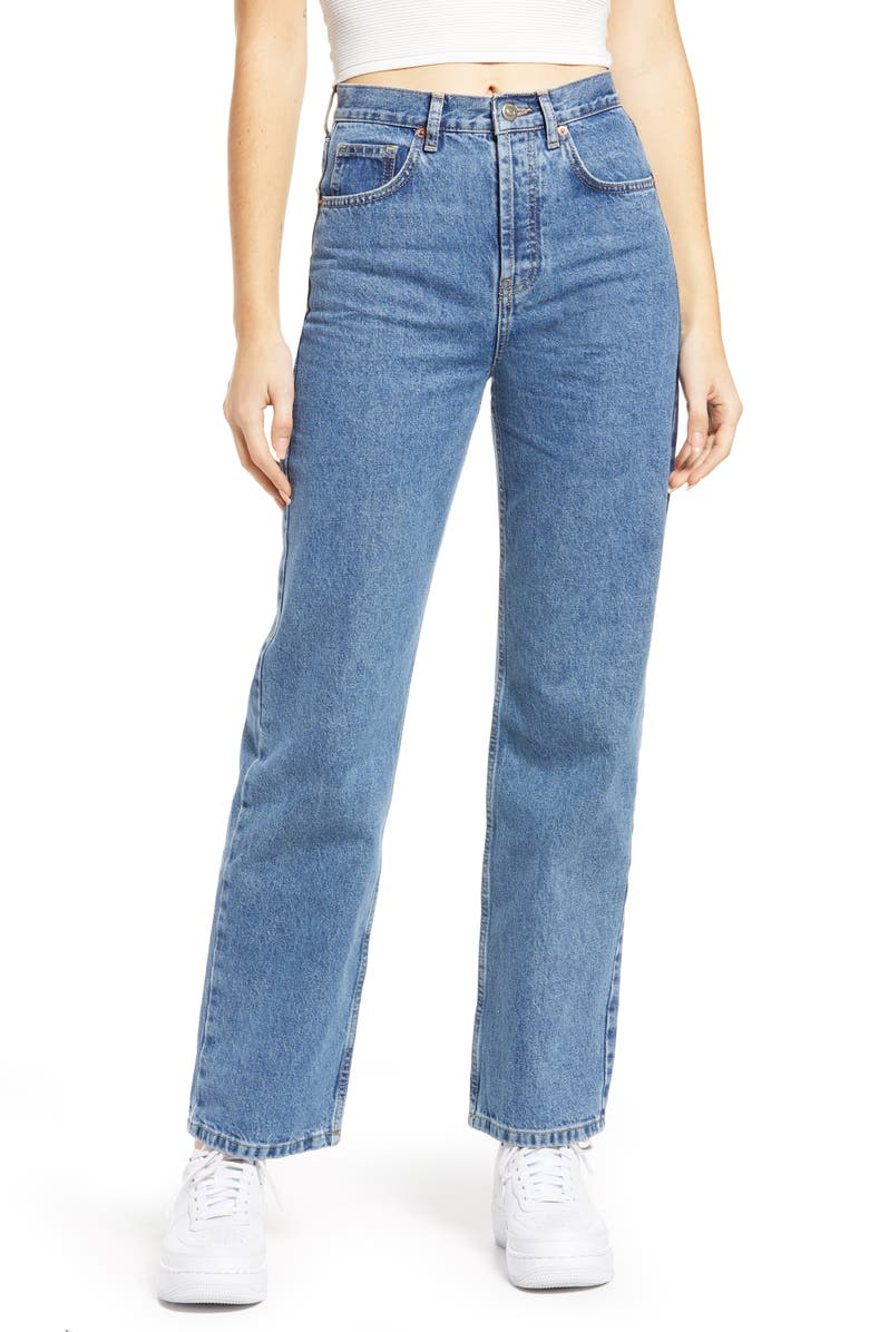 TOPSHOP High Waist Runway Jeans, Main, color, MID DENIM