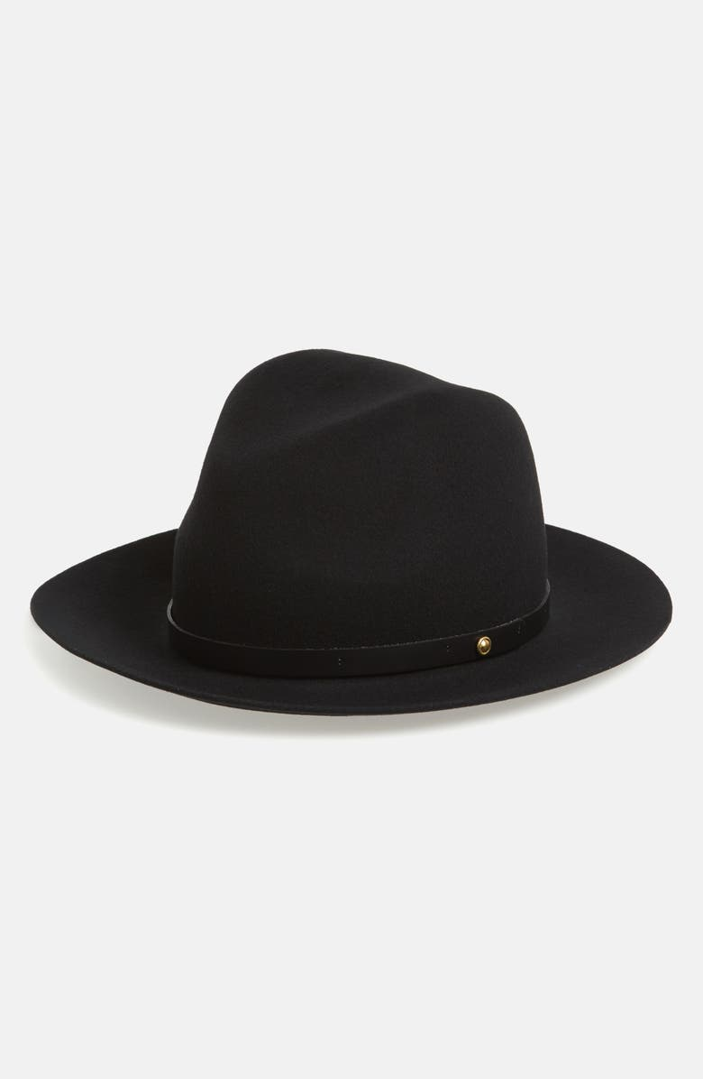 RAG & BONE Floppy Brim Felted Wool Fedora, Main, color, Black
