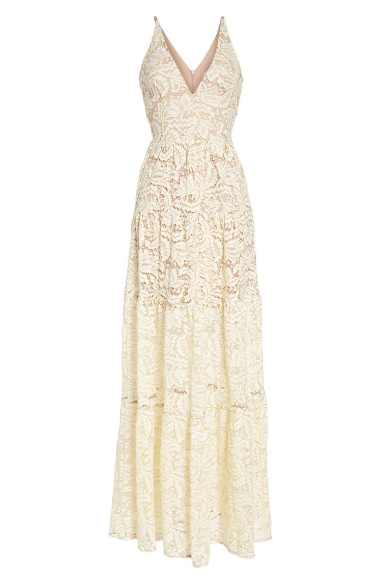 DRESS THE POPULATION Melina Lace Fit & Flare Maxi Dress, Main, color, 101