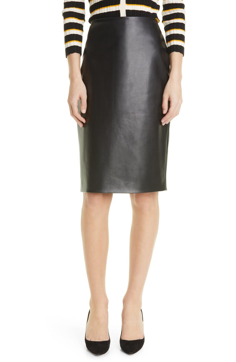 THEORY Faux Leather Skinny Pencil Skirt, Main, color, BLACK