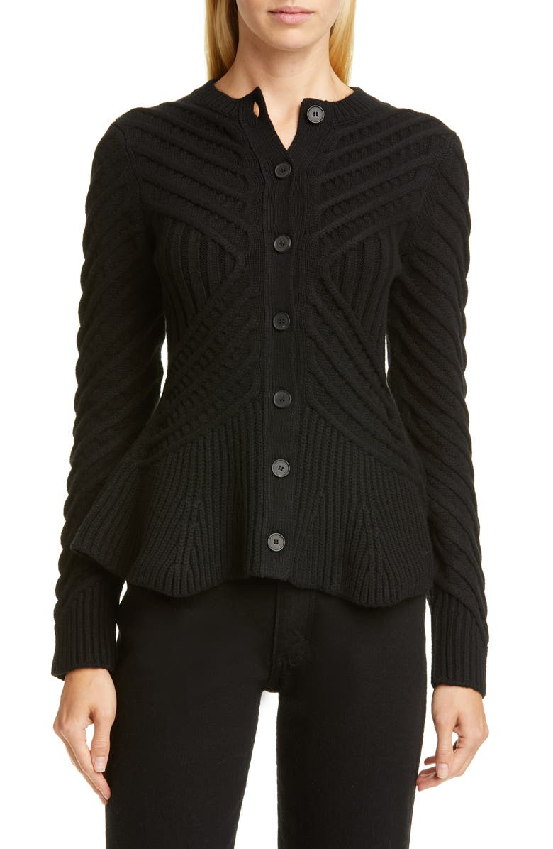 ALEXANDER MCQUEEN Angled Cable Cardigan, Main, color, 001