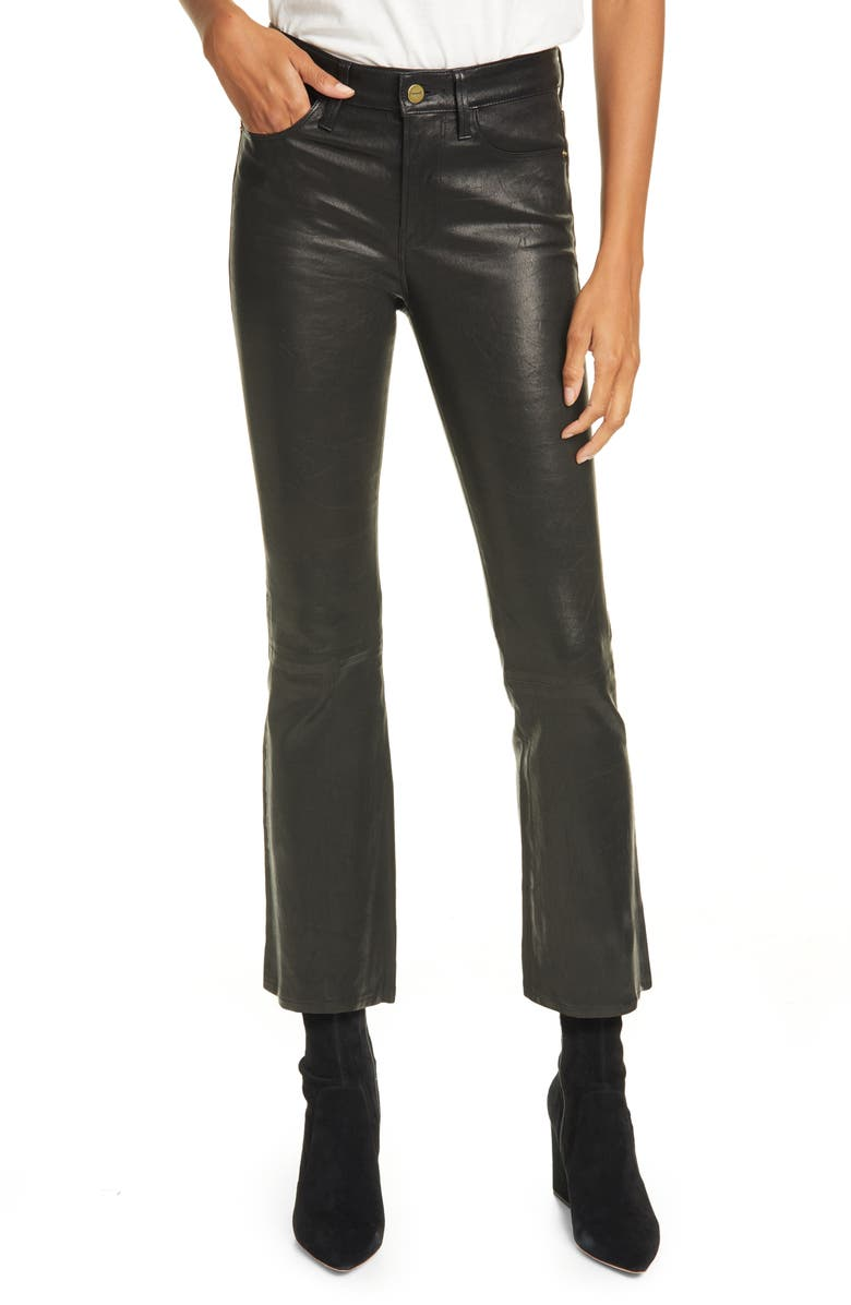 FRAME Le Crop Mini Boot Leather Pants, Main, color, WASHED BLACK