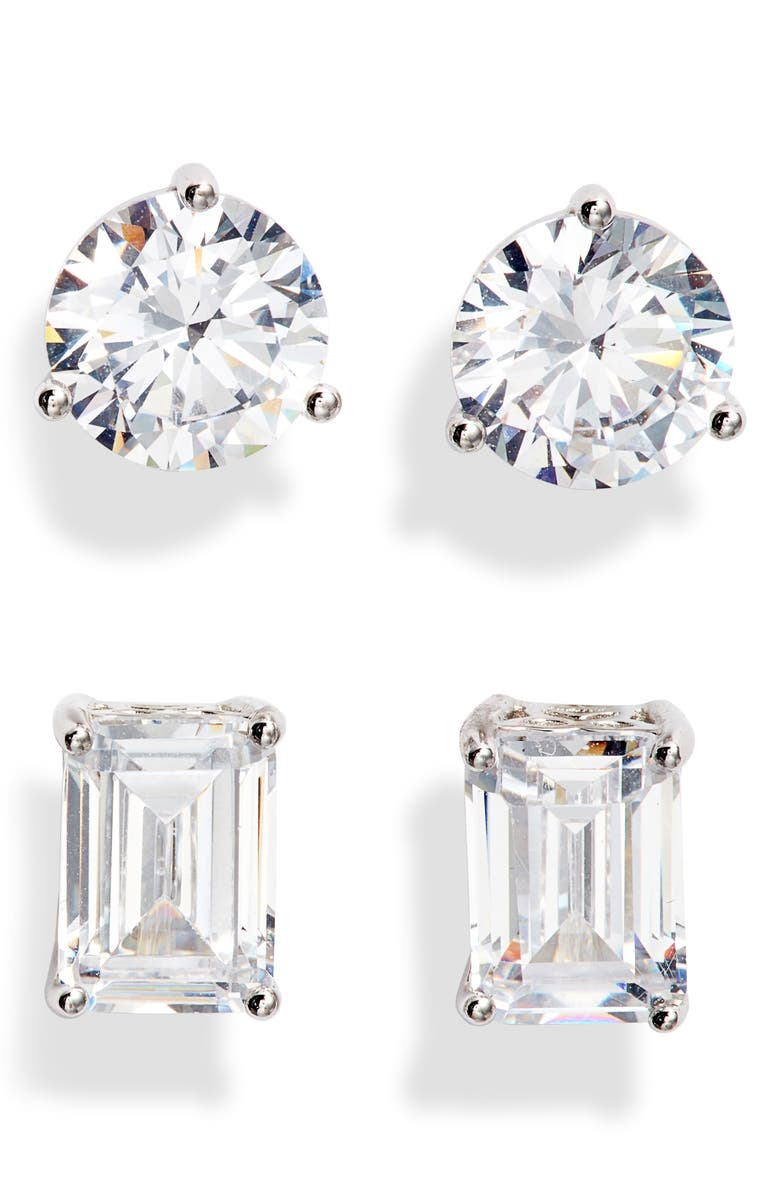 NORDSTROM Set of 2 Cubic Zirconia Stud Earrings, Main, color, CLEAR- SILVER