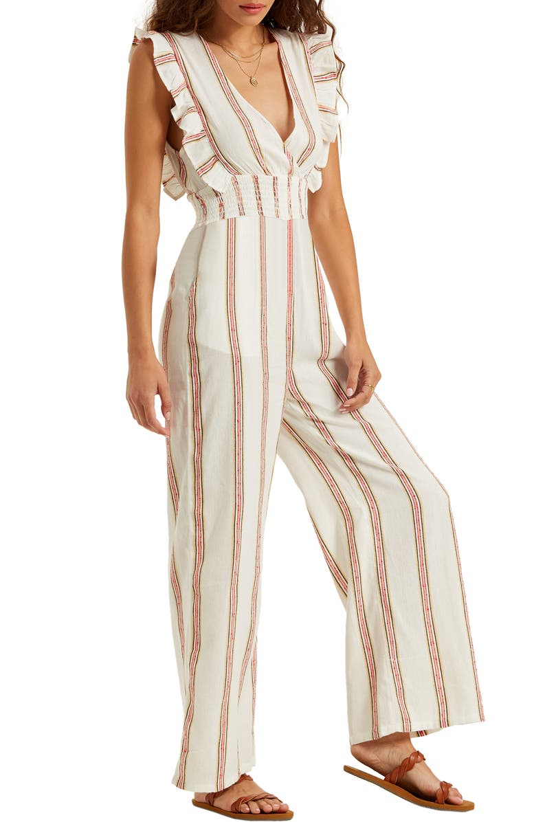 BILLABONG Coming Home Stripe Ruffle Jumpsuit, Main, color, COOL WIP