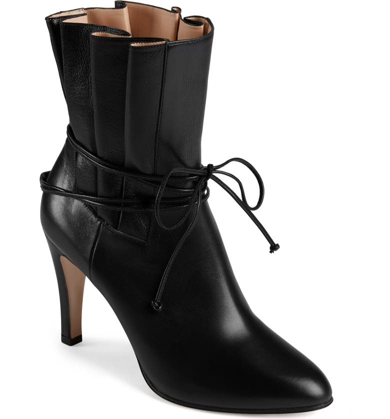GUCCI Indya Pleated Bow Tie Bootie, Main, color, 001