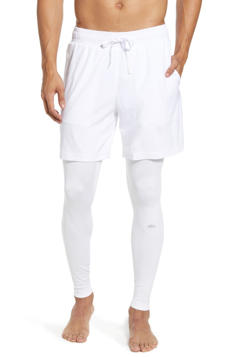ALO Stability 2-in-1 Athletic Tights, Main, color, WHITE/WHITE