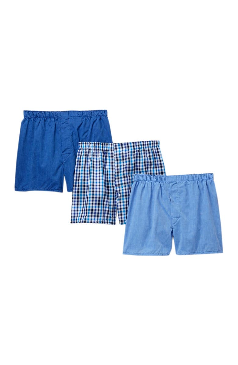 NORDSTROM RACK Woven Boxers - Pack of 3, Main, color, BLUE- GREY PLAID/ SOLID PACK