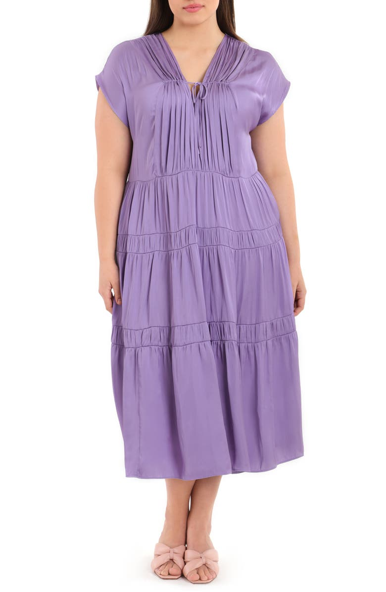 MAGGY LONDON Tiered Brushed Satin Midi Dress, Main, color, CHALK VIOLET