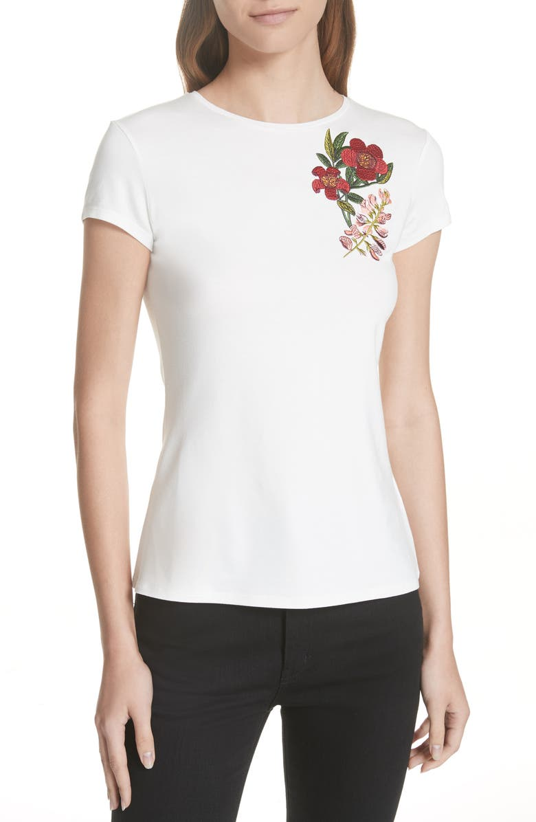TED BAKER LONDON Laylar Kirstenbosch Embroidered Tee, Main, color, 115