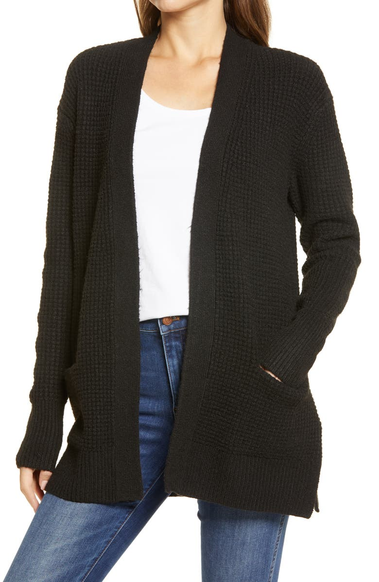 CASLON<SUP>®</SUP> Open Front Cardigan Sweater, Main, color, 001