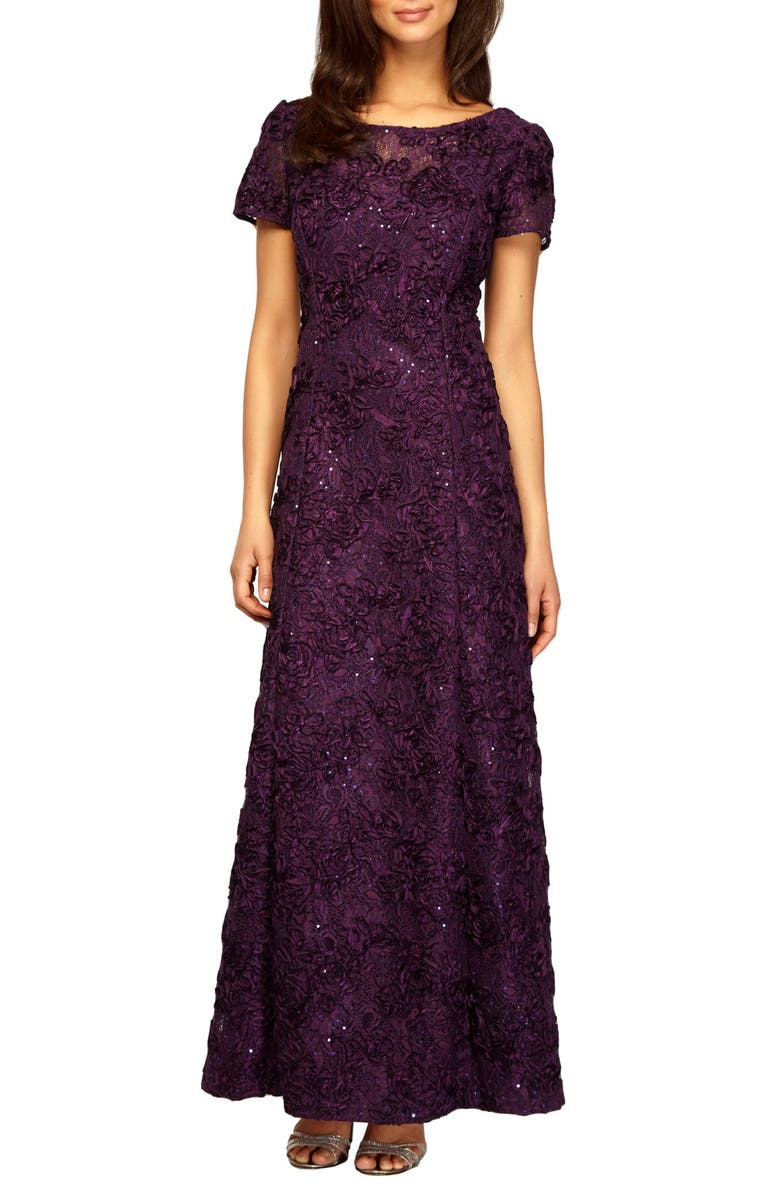 ALEX EVENINGS Embellished Lace A-Line Gown, Main, color, EGGPLANT